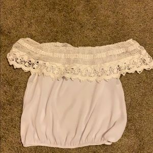 Charlotte Russe White Off the Shoulder Shirt
